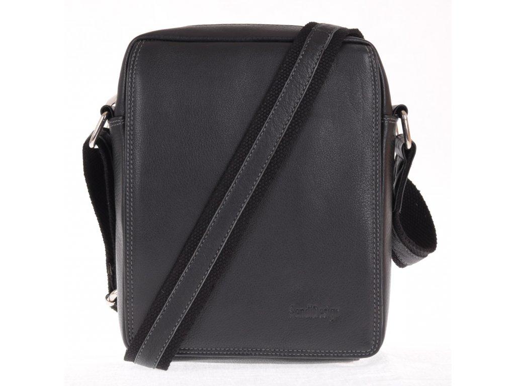 pánská crossbody kožená taška přes rameno Sendi 52005 černá s nastavitelným popruhem přes rameno