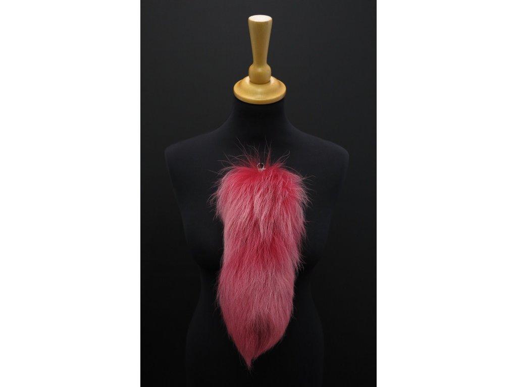 Kožešinový ohon na kabelku růžový