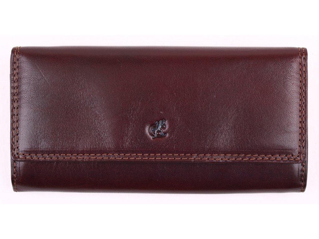 Klasická hnědá kožená peněženka Cosset 4493 Komodo