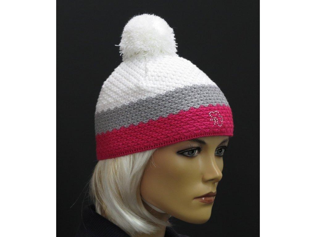 Barevná dětská zimní pletená čepice s bambulí -  růžová šedá bílá
