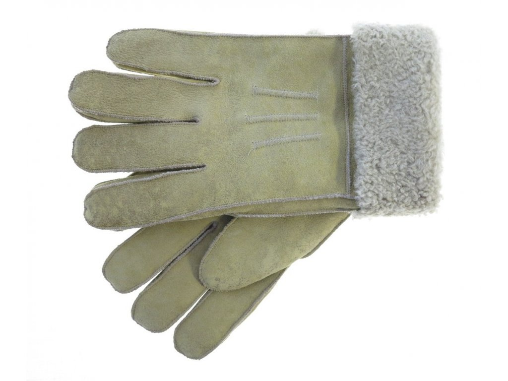 Pánské kožešinové rukavice prstové béžové