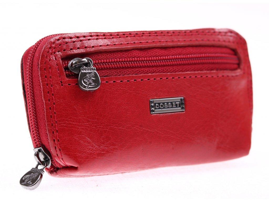 Červená kožená klíčenka Cosset 4475