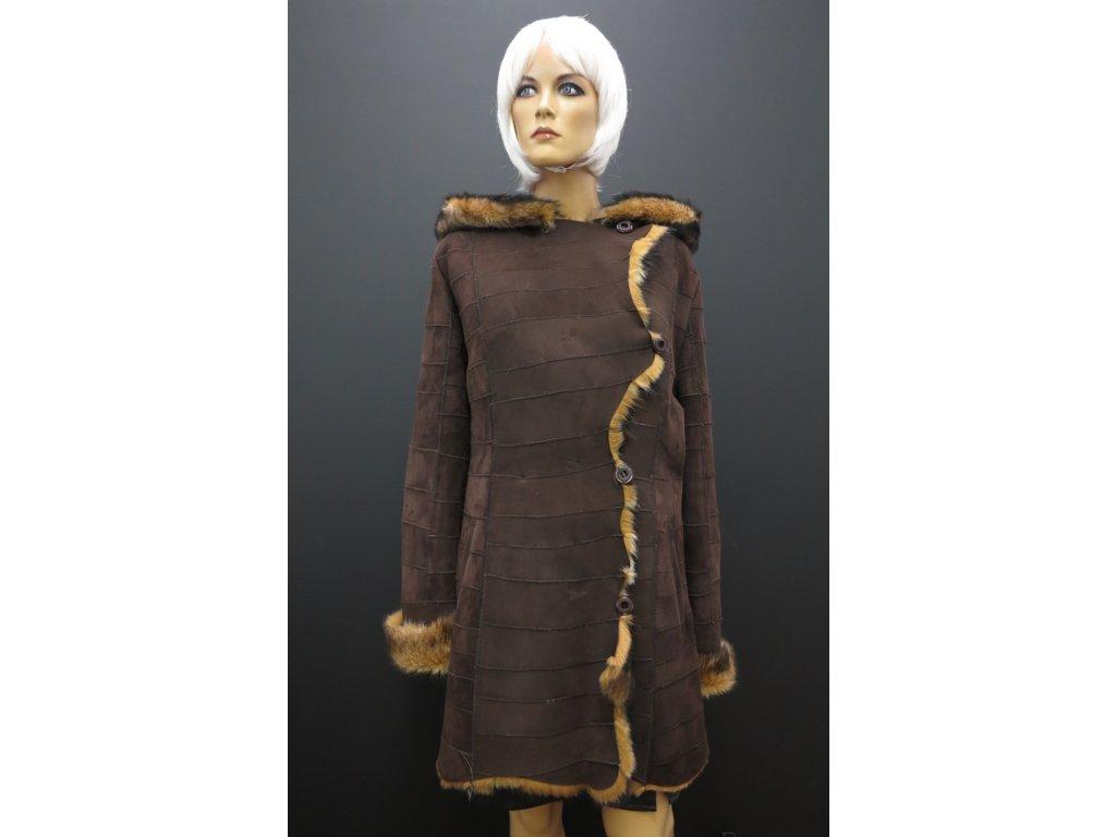 Kožešinový kabát dubeňák 6272 · Kožešinový velurák hnědý · Dámský velurový  kožich s kapucou 6272 tmavě hnědá ... 4ad8066339
