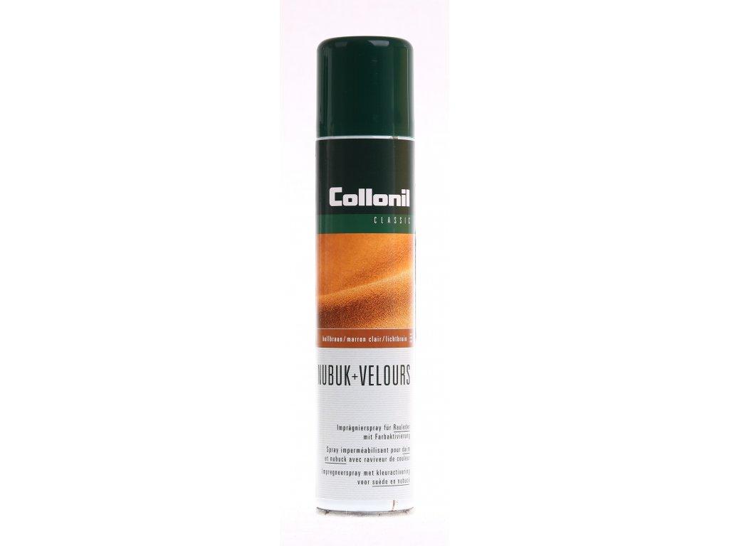 Collonil Nubuk + Velours světle hnědý impregnační sprej na dobarvení a ošetření broušené a velurové kůže, textilu a umělé velurové kůže
