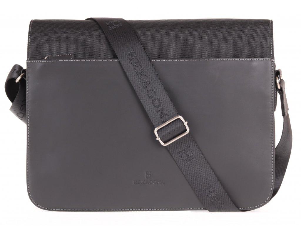 Pánská messenger taška přes rameno Hexagona 292682 černá kůže a nylon A