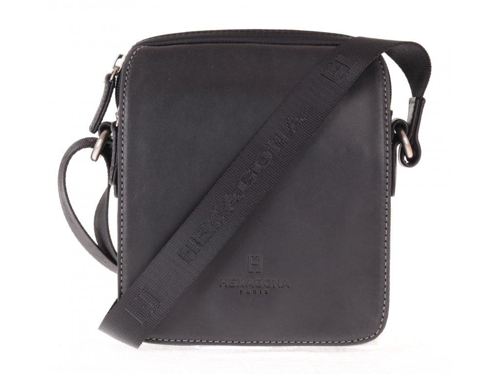 pánská nylonová crossbody taška přes rameno Hexagona  299176 černá s koženou klopnou