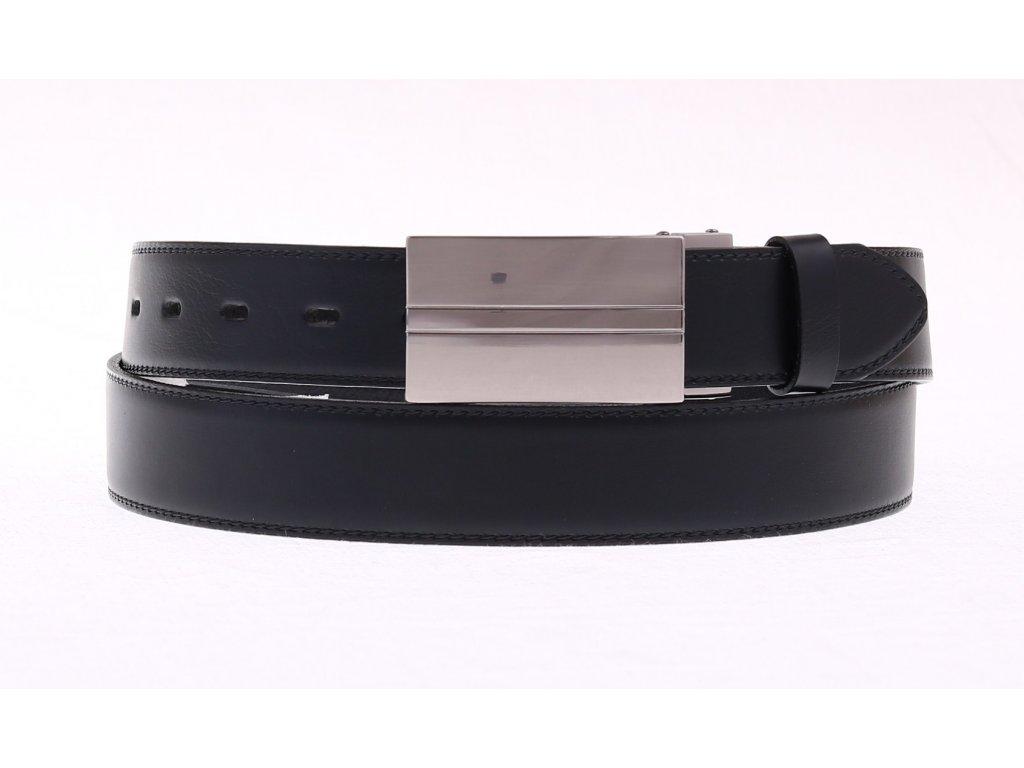 Pánský kožený opasek Penny Belts 3518 černý společenský s plnou sponou