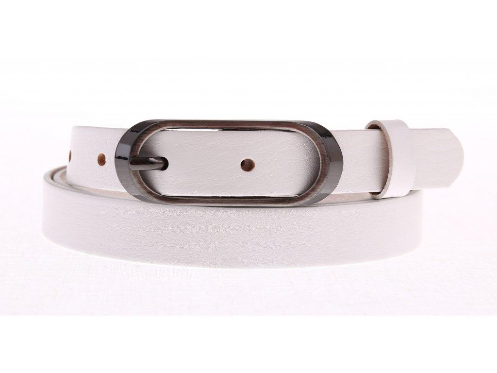 Úzký dámský kožený opasek Penny Belts 20-175-00 bílý