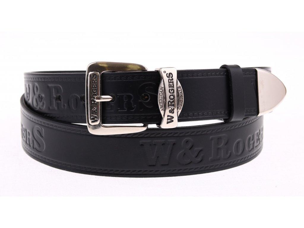 Pánský kožený opasek Penny Belts W&Rogers 44 černý NADMĚRNÁ DÉLKA