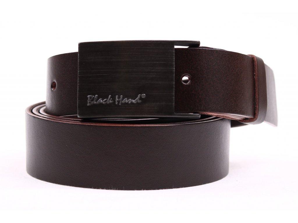 Pánský kožený opasek Black Hand 065-93 tmavě hnědý