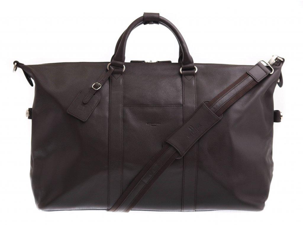 Kožená cestovní taška Hexagona 463134 tmavě hnědá