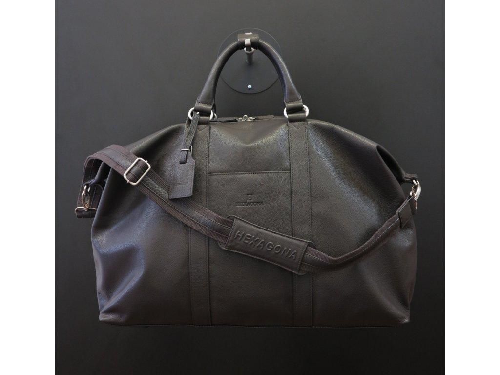 Černá cestovní taška Hexagona 462546 pravá kůžeHexagona 463134 hnědá