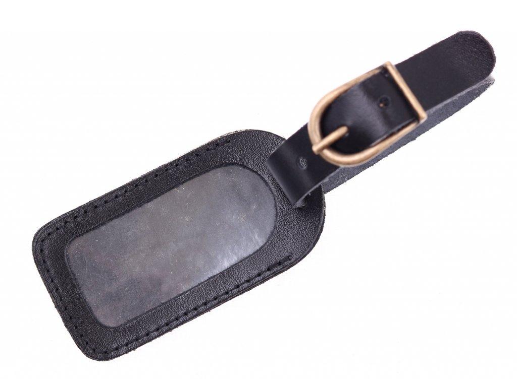 Malá kožená visačka na zavazadlo černá