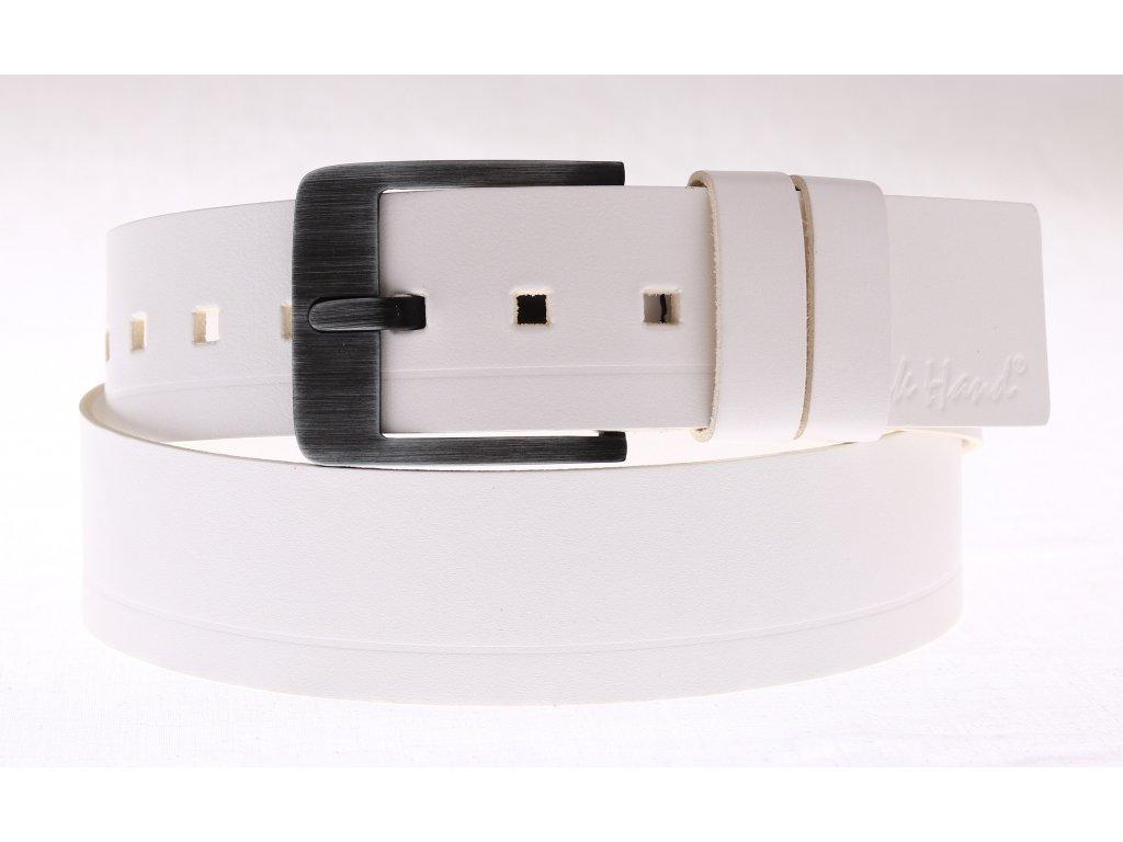 Široký pánský kožený opasek Black Hand 012-00 bílý