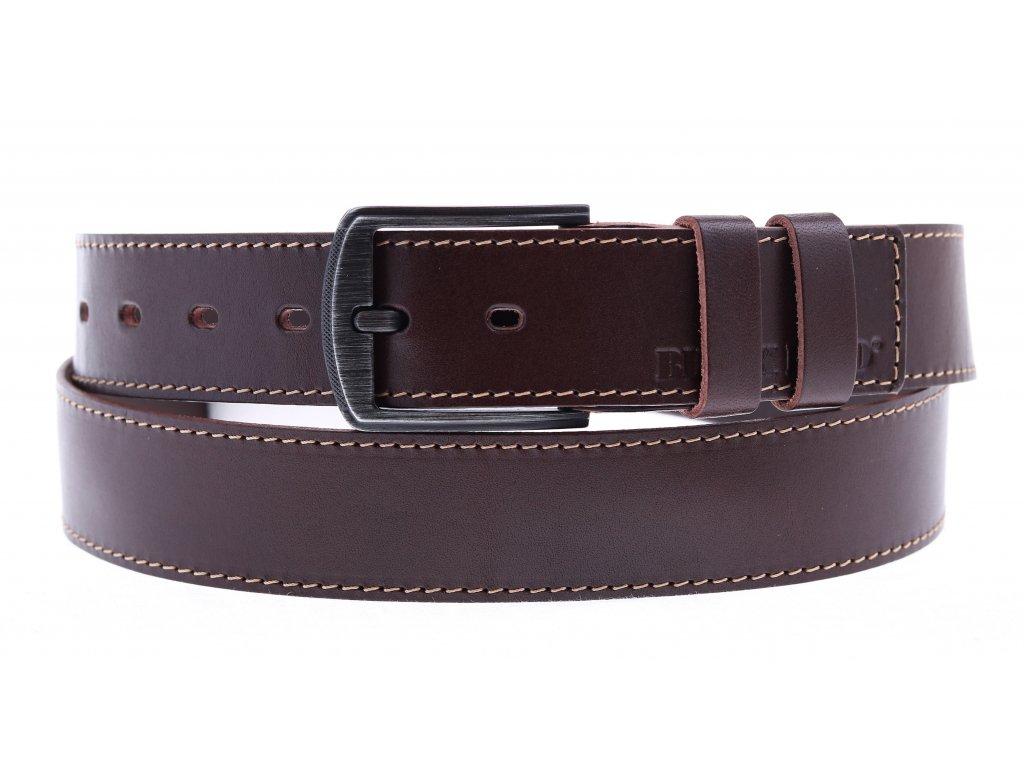 Pánský kožený opasek Black Hand 112-78 hnědý se světlým štepováním