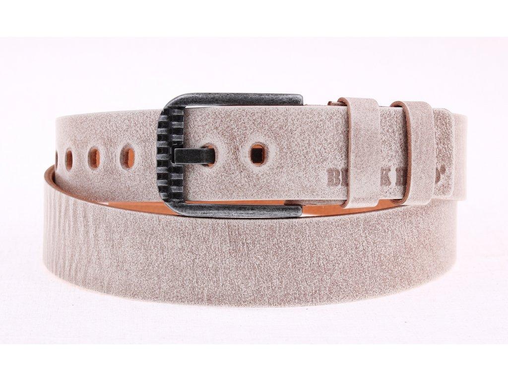 Pánský kožený opasek Black Hand 114-83 béžový s patinou