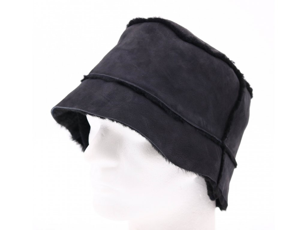 Pánský kožešinový klobouček z ovčiny - černý KLKO1