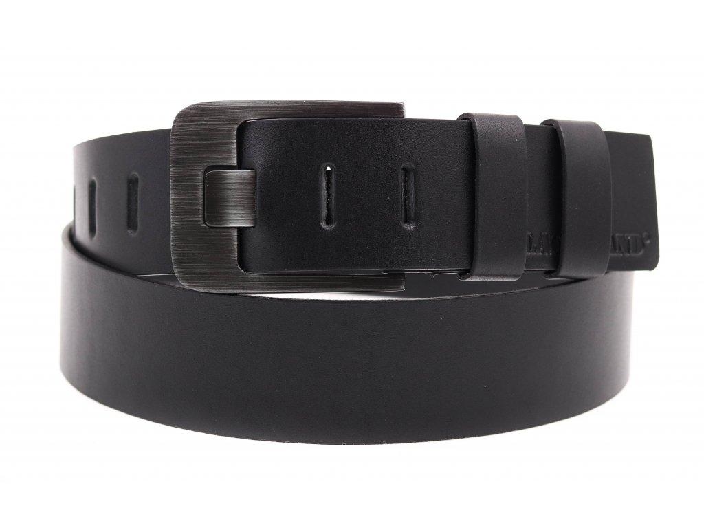Široký pánský kožený opasek z masivní hověziny Black Hand 010-98 černý