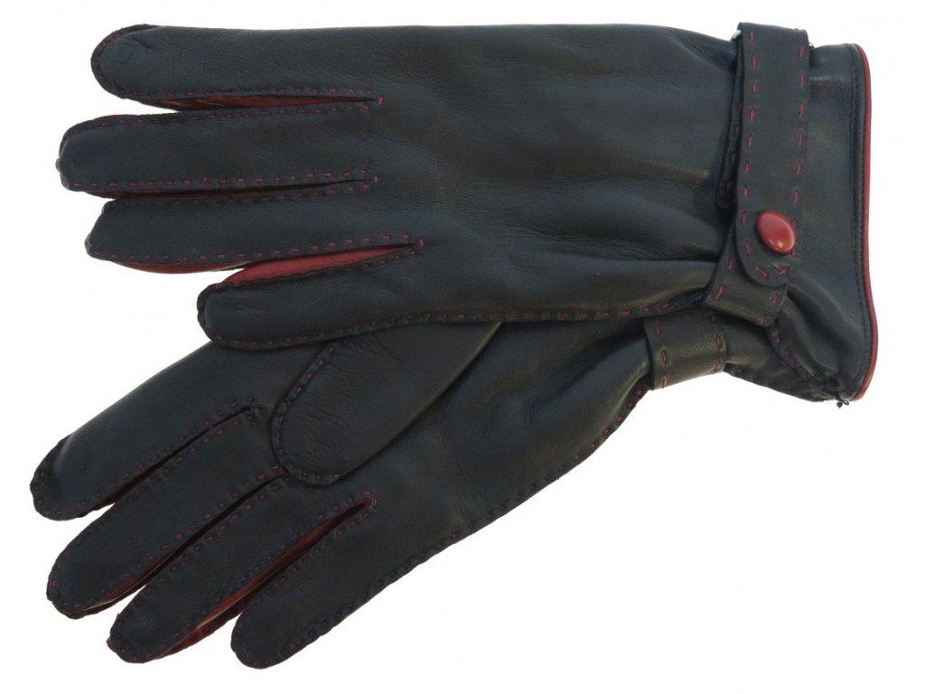 Dámské kožené rukavice 4383 černé / červené