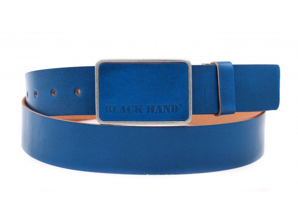 Pánský kožený opasek Black Hand 018-43 modrý s patinou