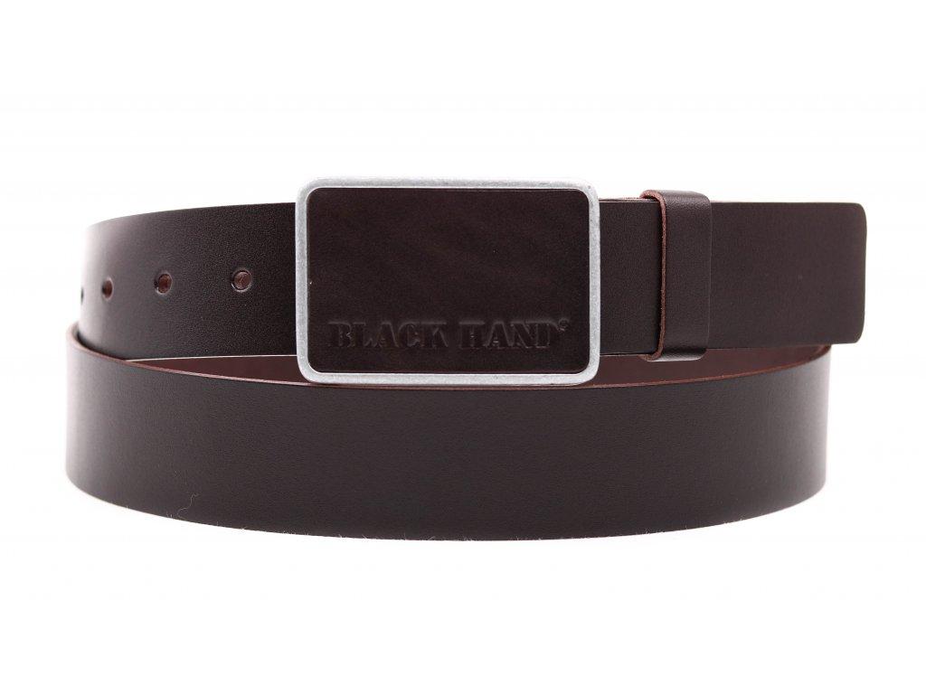 Pánský kožený opasek Black Hand 018-93 tmavě hnědý