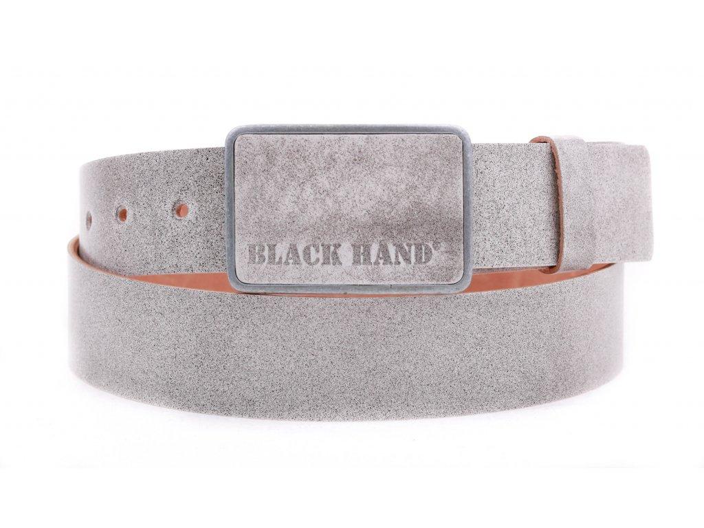 Pánský kožený opasek Black Hand 018-03 světle šedý s patinou
