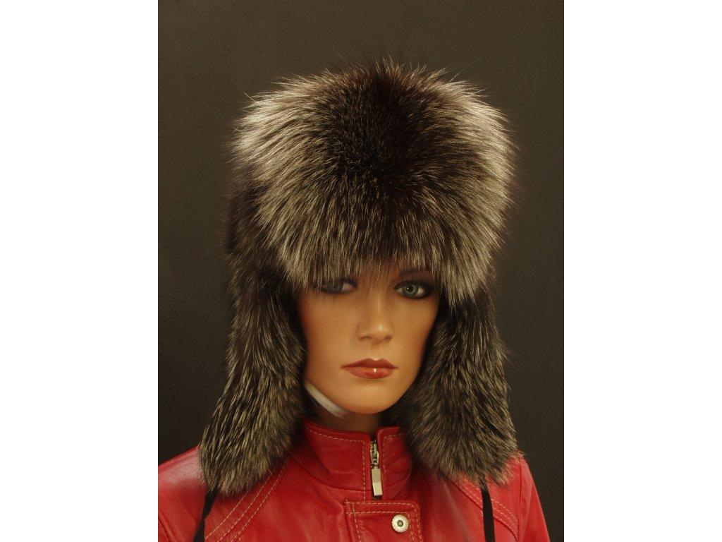 dámská kožešinová ušanka ze stříbrné lišky