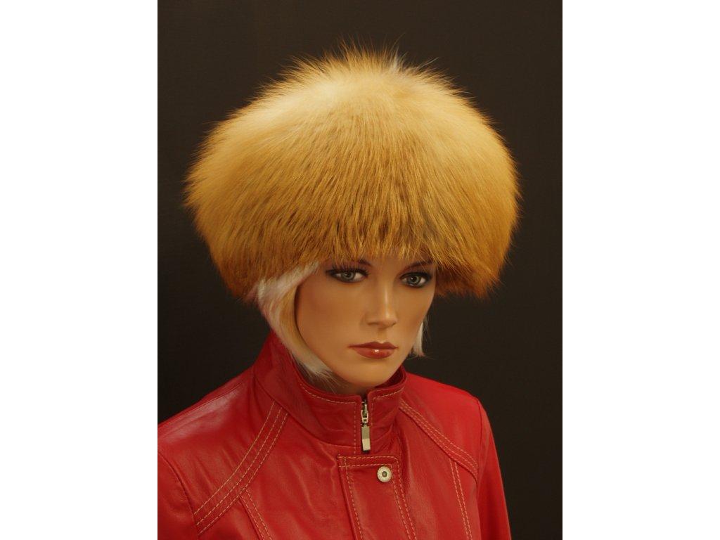 dámská kožešinová čepice z lišky kulatá