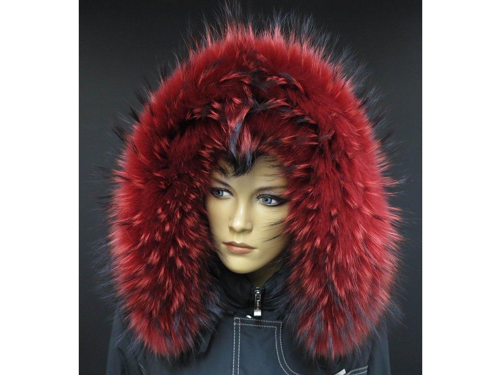 Kožešinový lem na kapuci z finského mývalovce - 4081 RED
