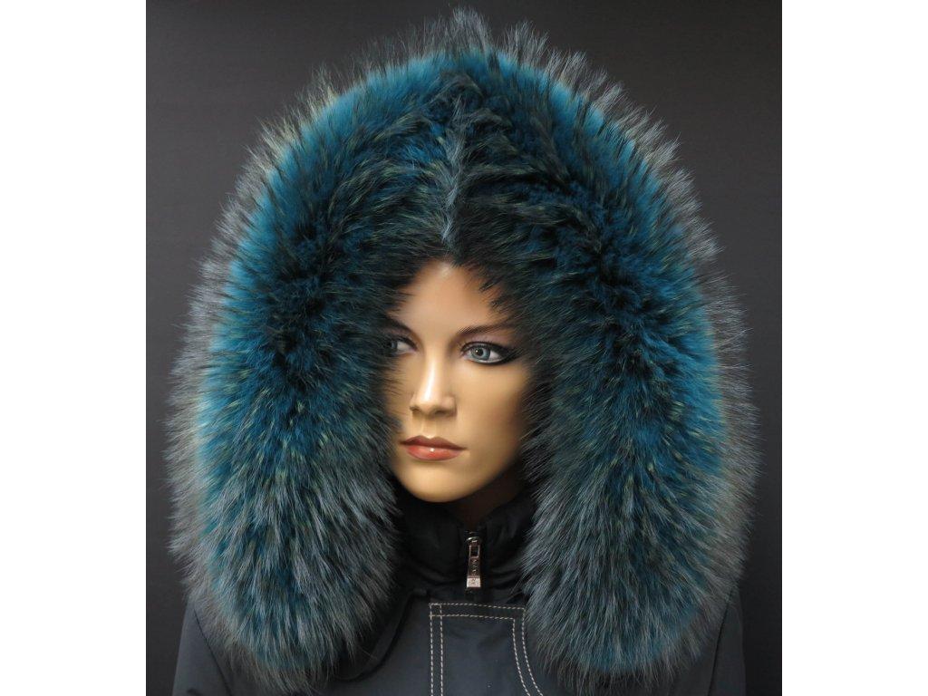 Kožešinový lem na kapuci z finského mývalovce - 2050 PETROL BLUE