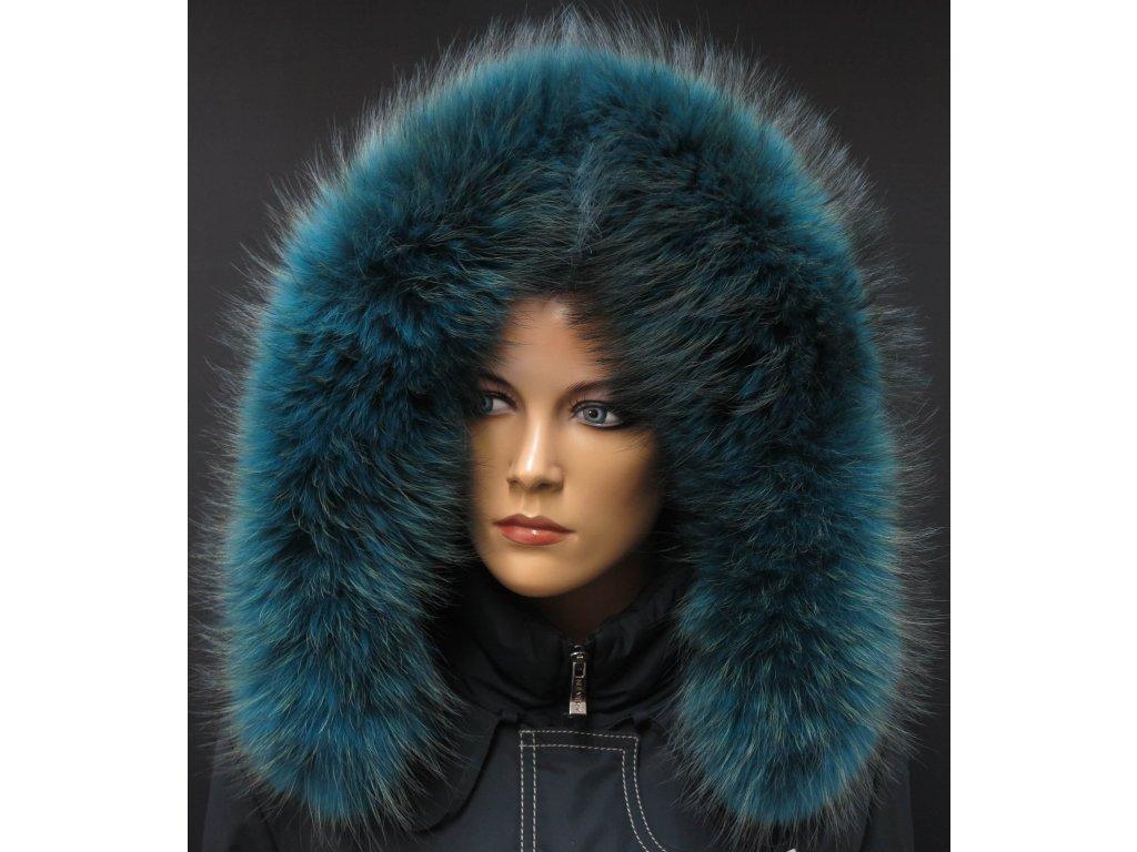 Kožešinový lem na kapuci z finského mývalovce - 2053 PETROL BLUE