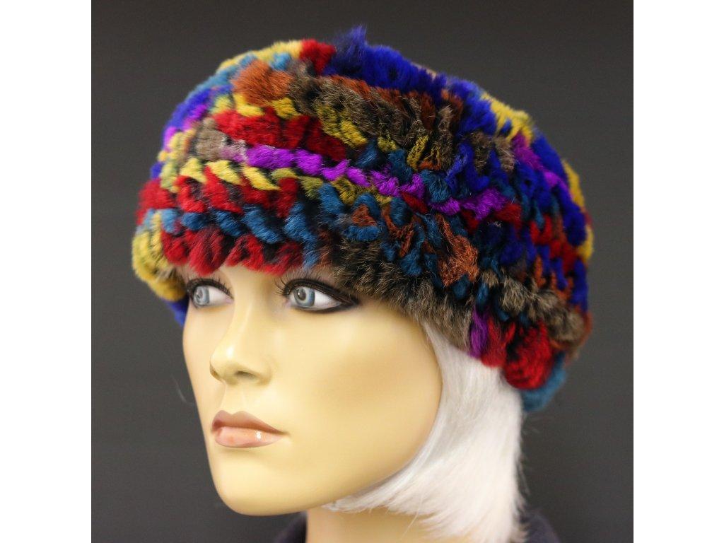 Kožešinová čelenka z králičí kožešiny multicolor vícebarevná