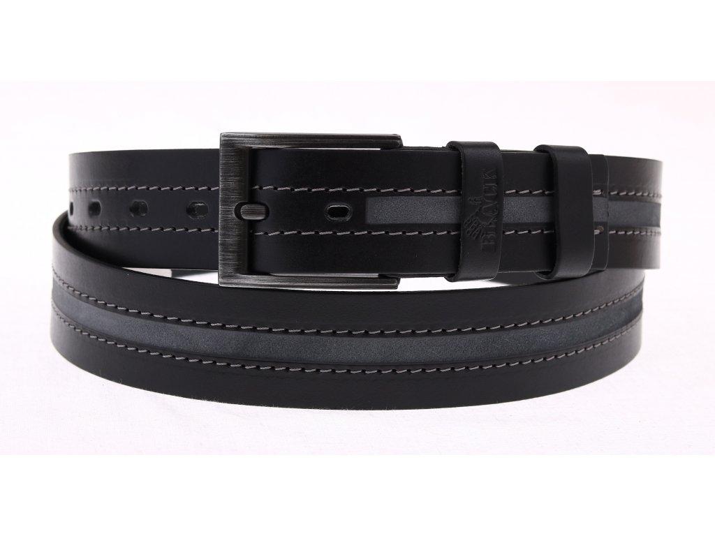Pánský kožený opasek Black Hand 100-98 černý NADMĚRNÁ DÉLKA