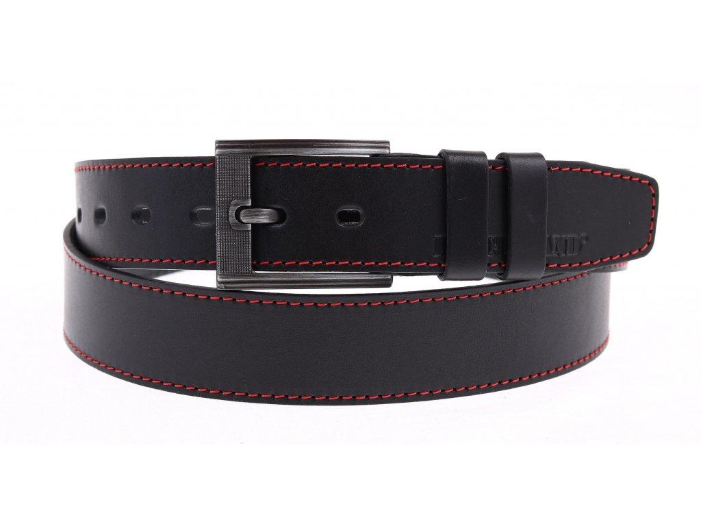 Pánský kožený opasek Black Hand 128-98 černý s červeným štepováním