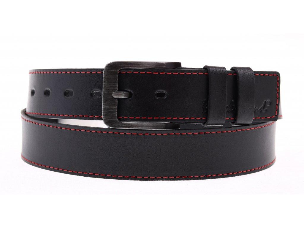 Pánský kožený opasek Black Hand 106-98 černý + červené prošití