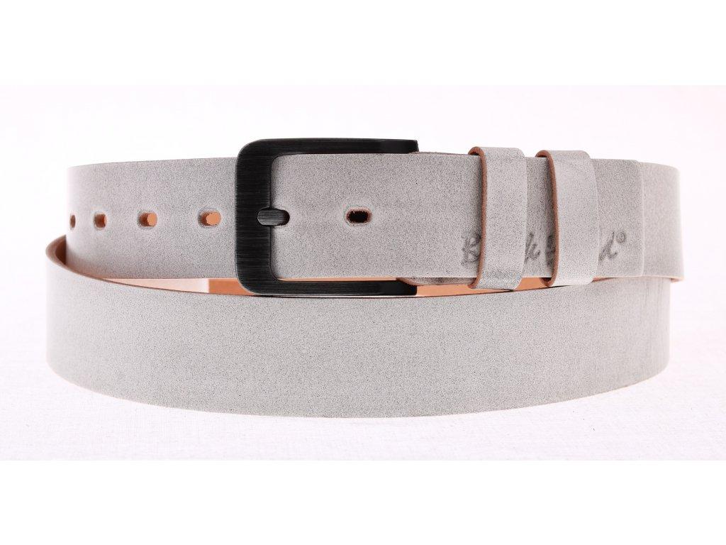 Pánský kožený opasek Black Hand 106-03 šedá patina