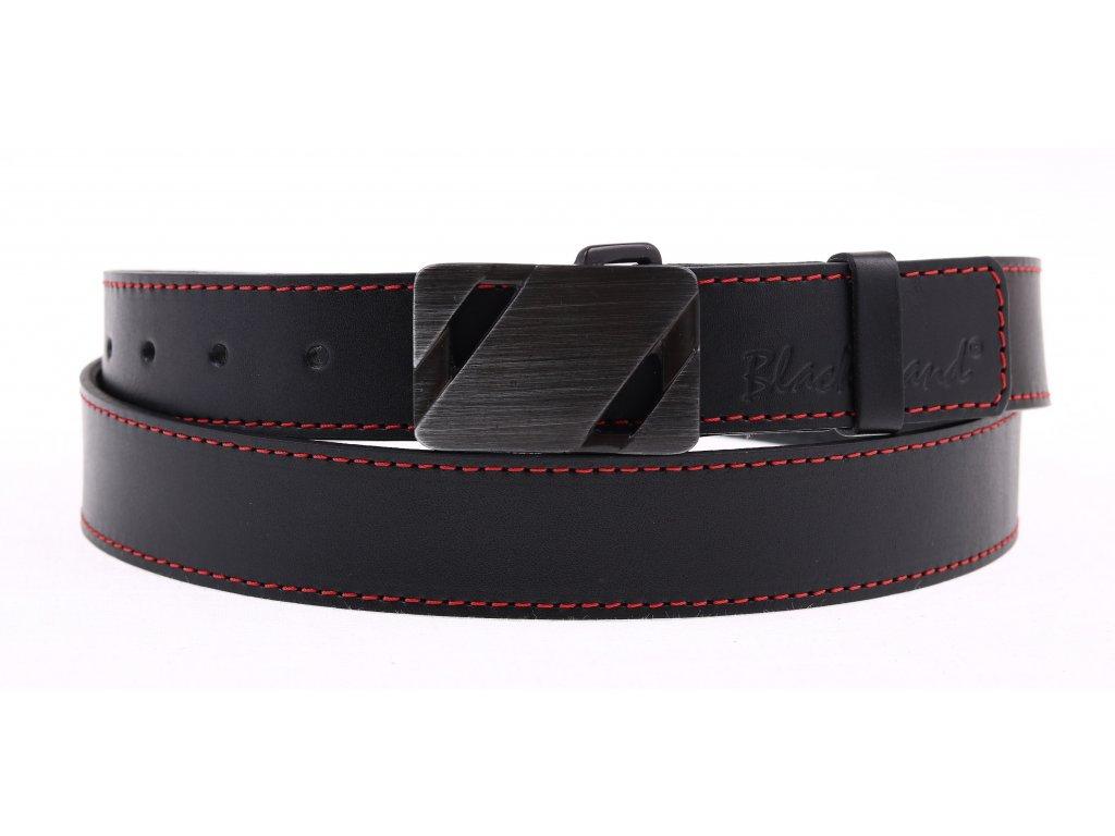 Dámský kožený opasek Black Hand 110-98 černý s červeným prošitím