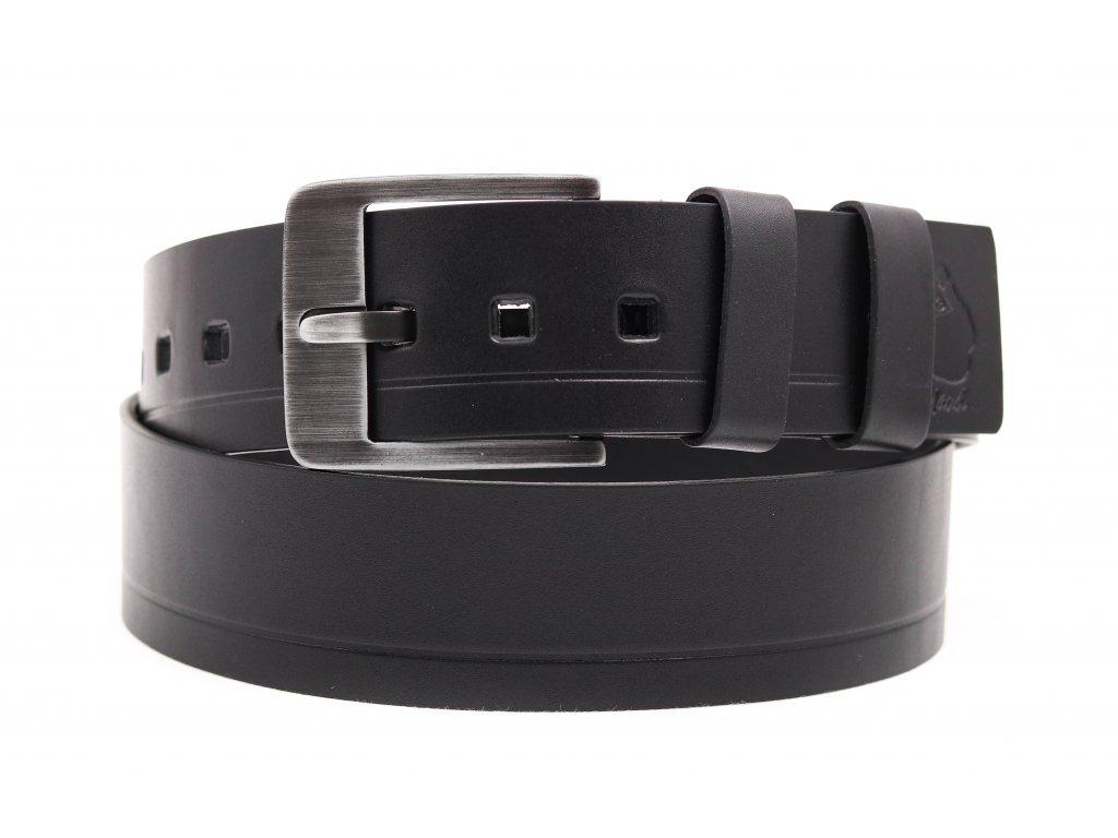 Široký pánský kožený opasek Black Hand 012-98 černý