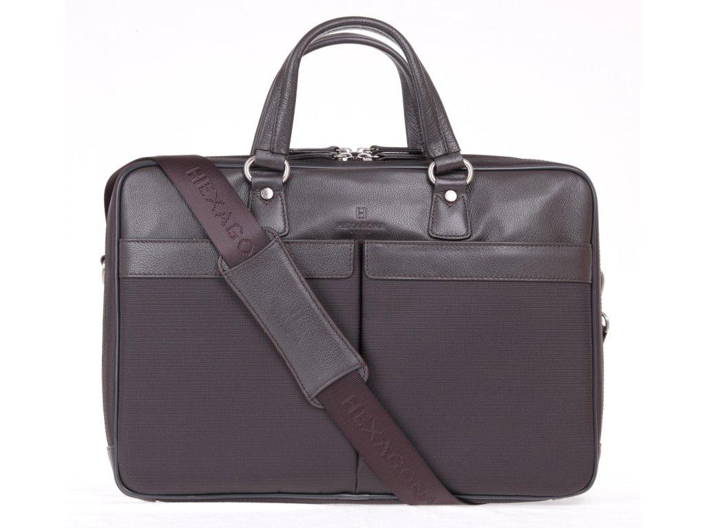 business taška Hexagona 294838 kombinace textilu nylonu a kůže s odepínatelným popruhem