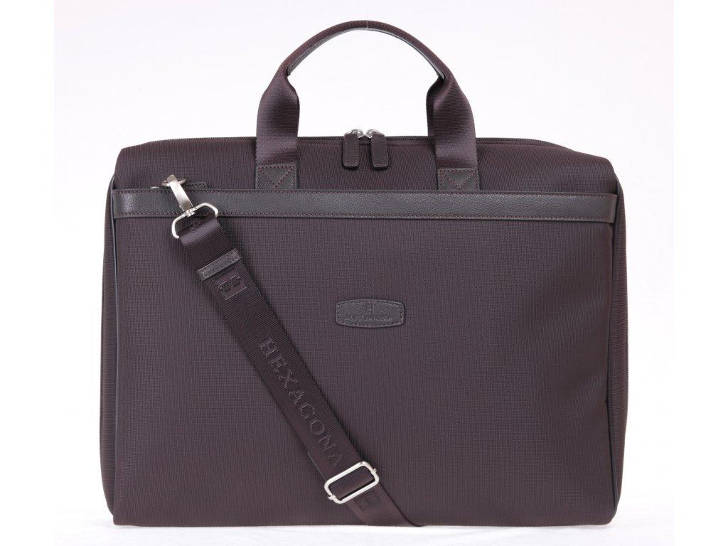 nylonová business taška Hexagona 292571 tmavě hnědá s připínacím popruhem přes rameno