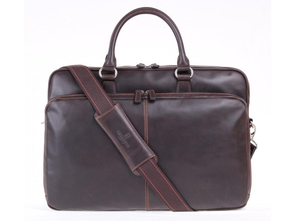 Manažerská business taška Hexagona z pravé hnědé kůže na dokumenty A4 s odepínacím ramenním popruhem