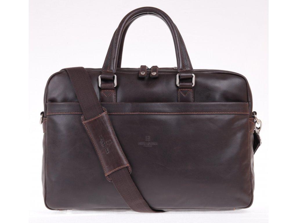 Manažerská business kožená taška Hexagona 154835 tmavě hnědá s odepínatelným popruhem přes rameno