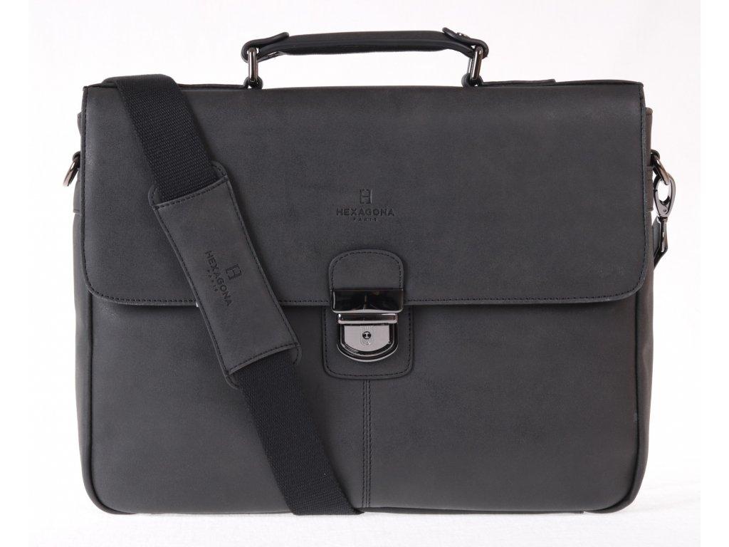 Hexagona taška 784632 černá pánská koženková aktovka