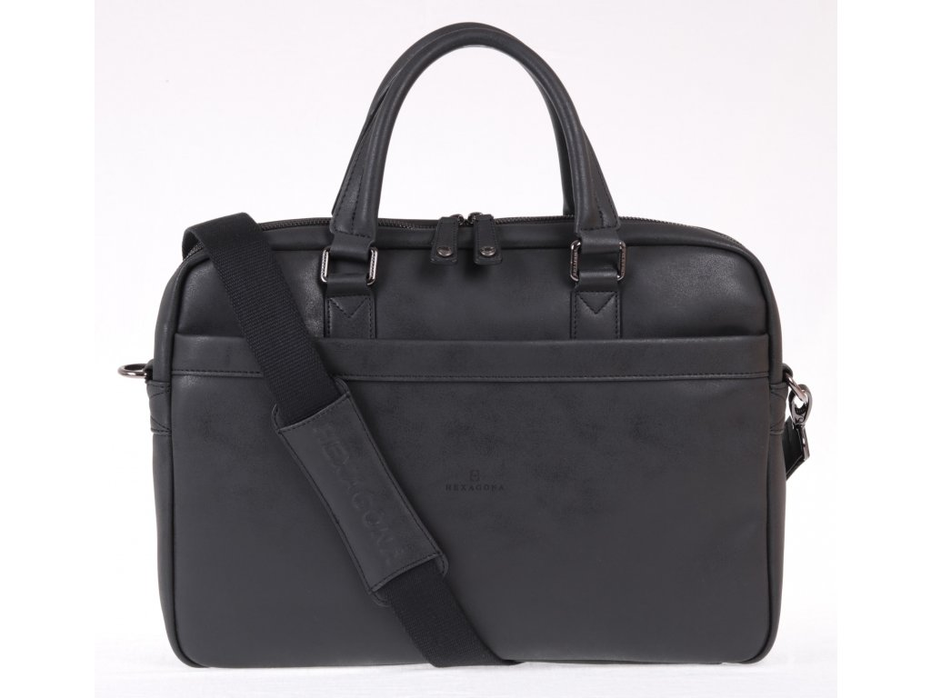 kvalitní černá pánská business taška z koženky s popruhem přes rameno