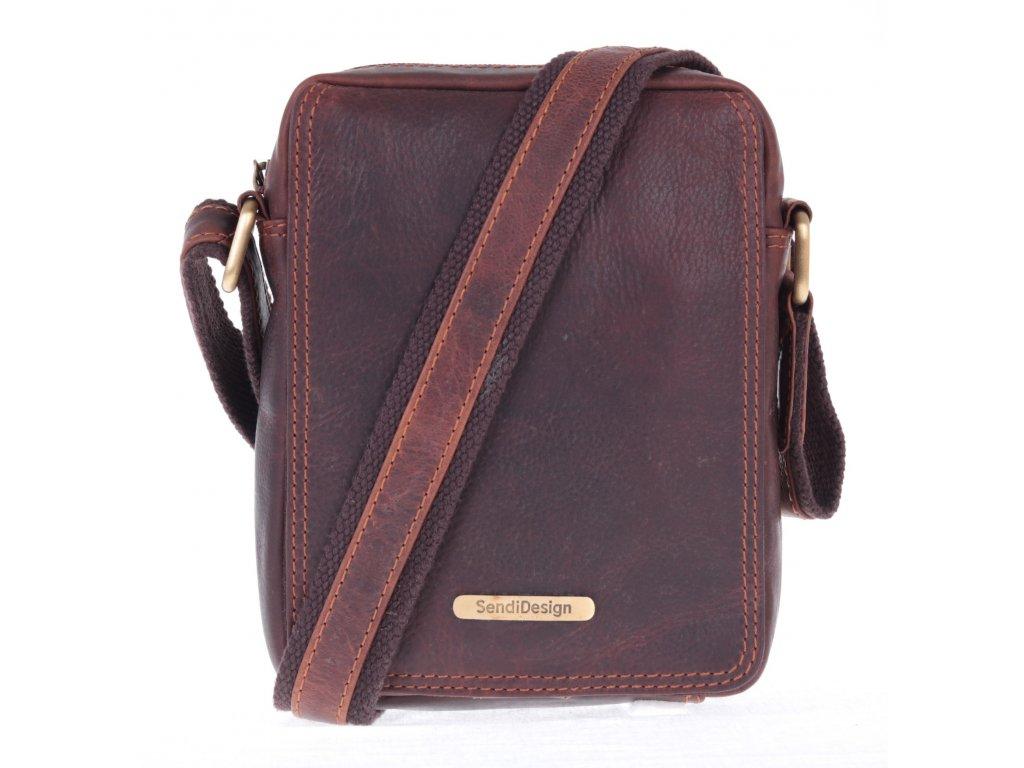 b2c121d9f0e Pánská kožená taška přes rameno Sendi Design SD 52006 hnědá - Špongr.cz