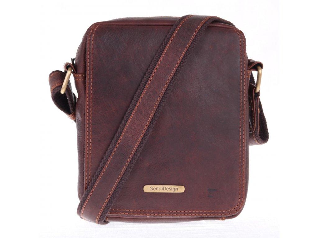 pánská kožena taška přes rameno Sendi Design 52005 na doklady - hnědá olejovaná kůže