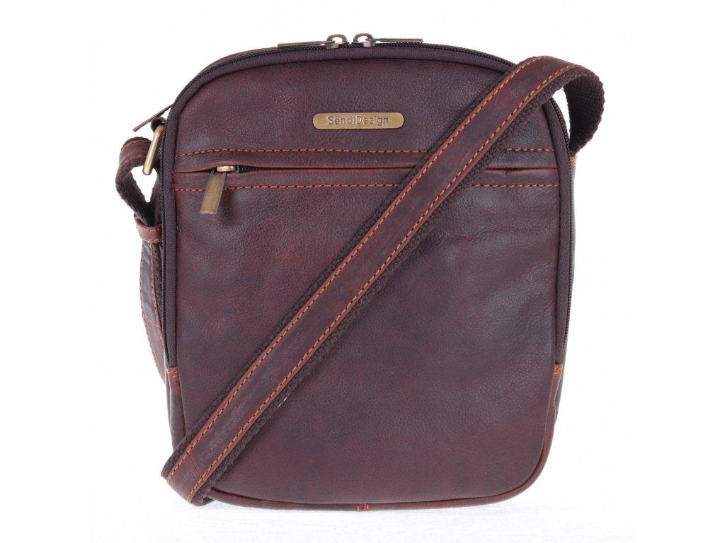 pánská kožená crossbody taška Sendi Design 1106 hnědá maštěná hovězina