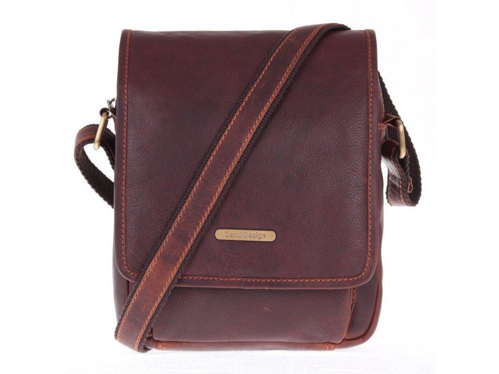 pánská kožená crossbody taška Sendi Design 1101 na doklady hnědá