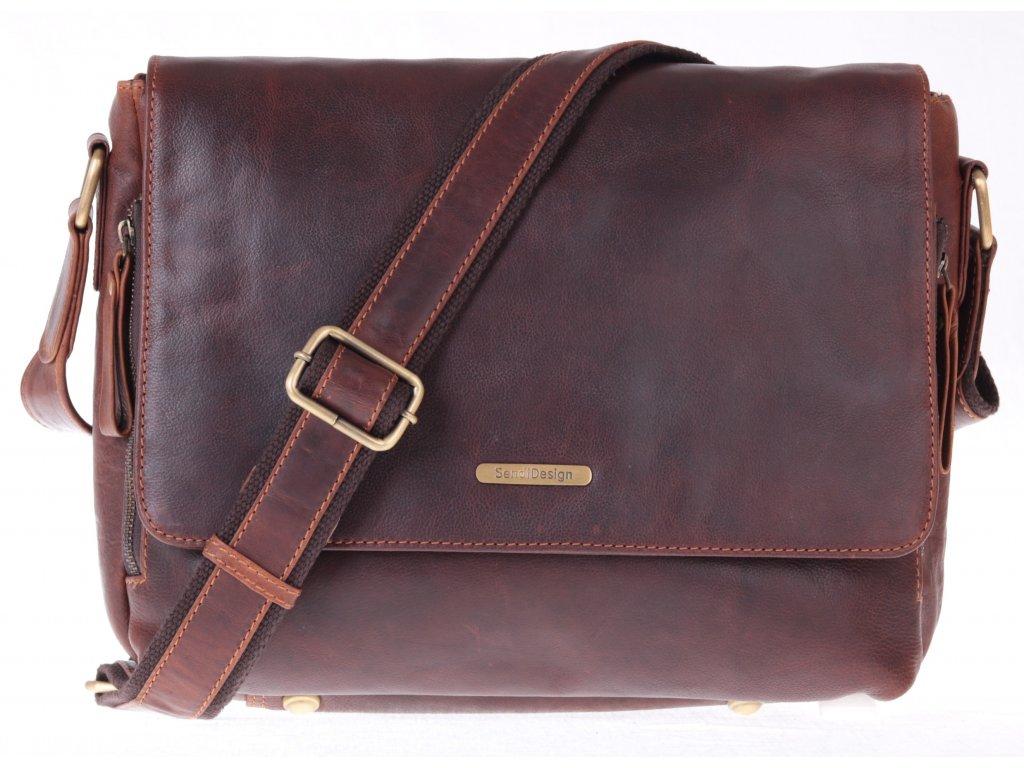 pánská kožená messenger taška Sendi Design 001 hnědá maštěná kůže