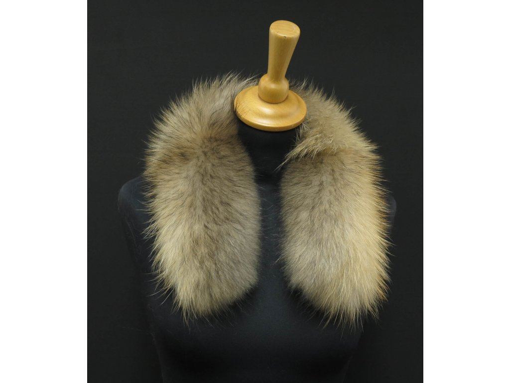 Krátká kožešina na kapuci z mývalovce 6045 NATUR - 60 cm
